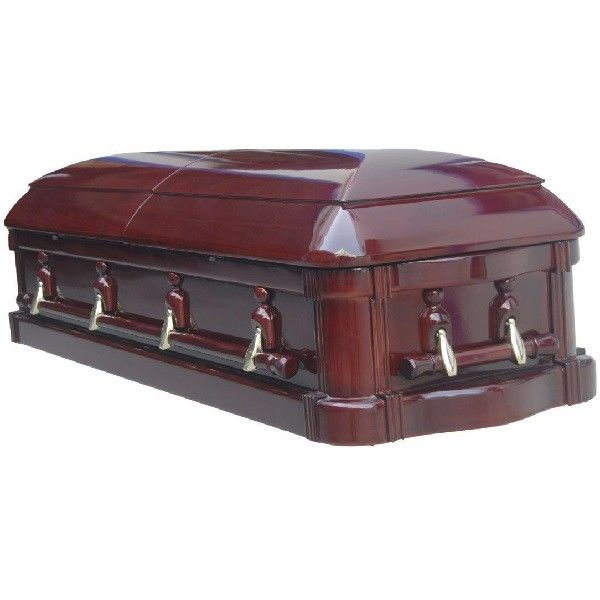 High Gloss Funeral Wooden Coffins With Glass Paulownia Casket 198*58*35 Cm