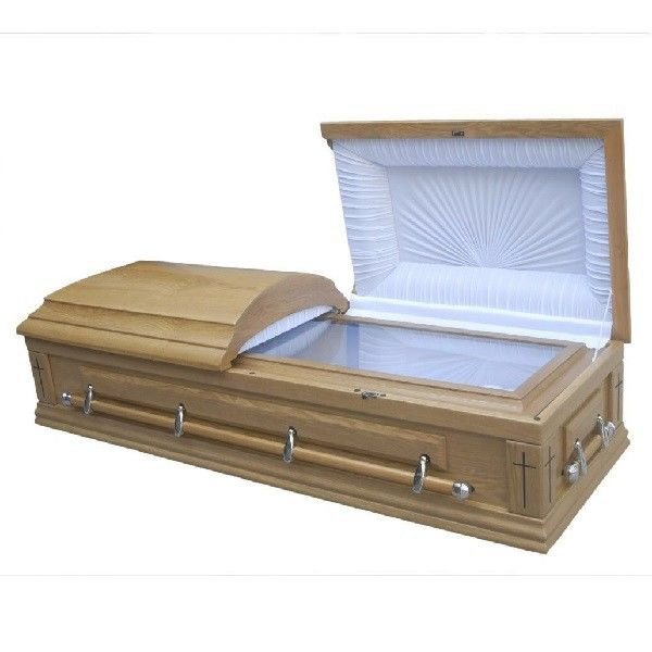 CIQ Certificate Funeral Coffin / Wood Caskets With Lining And Lid Lining