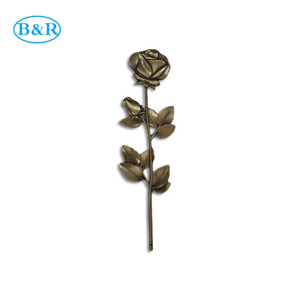F02 Zamak Rose Coffin Fitting Decoration Zinc Alloy Flower 36 * 13cm Antique Bronze Color